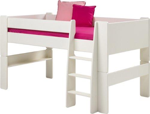 Steens For Kids Kinderbett/ Halbhochbett, inkl. Lattenrost und Absturzsicherung, Liegefläche 90 x 200 cm, MDF, weiß