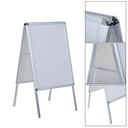 Homcom 5550-3261 Plakatständer ProspektKorb Prospekthalter, Aluminium, weiß, 64 x 8 x 119 cm