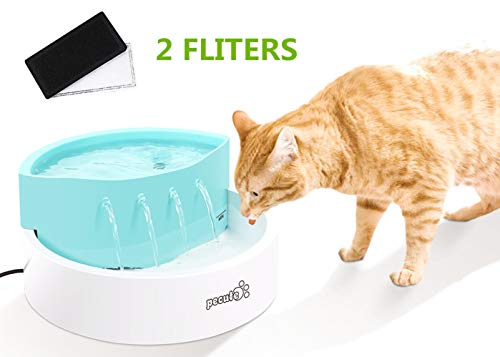 Pecute Trinkbrunnen Katzen Hunde Leise 1,6 Liter mit 2 Filter Einfache Reinigung