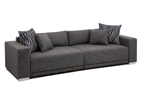 B-famous Big Sofa London-XXL Struktur grau, 287x103 cm,
