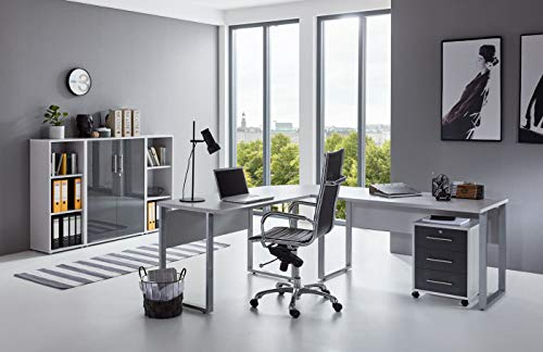 BMG-Moebel.de Büromöbel komplett Set Arbeitszimmer Office Edition in Lichtgrau/Anthrazit Hochglanz (Set 2)