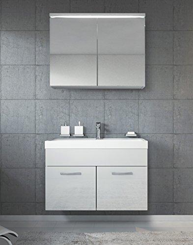 Badezimmer Badmöbel Set Paso 02 80 cm Waschbecken weiß hochglanz - Spiegel Aufbewahrung Unterschrank Spüle Möbel