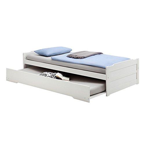 Tandembett Funktionsbett Schubladenbett Auszugsbett LORENA, Kiefer massiv weiß lackiert, 190 x 90 cm Liegefläche
