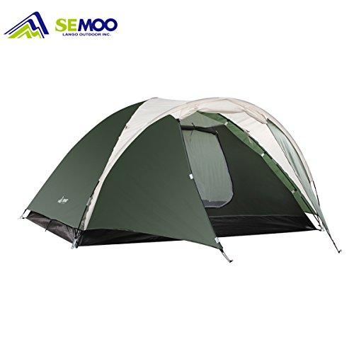 Semoo Familienzelt Leichtbau Zweischicht 3-Jahreszeiten-Zelt Kuppelzelt Campingzelt Trekkingzelt für 3-4 Personen, zum Verreisen und Kampieren, mit Tragetasche