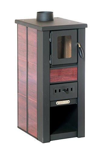 LAVA Kaminofen Ceramic ROT mit Sichtfenster, 35x44x82 cm – Kompakter Premium Holzofen für kleine Räume mit 6kW Heizleistung (LAVA Ceramic rot)