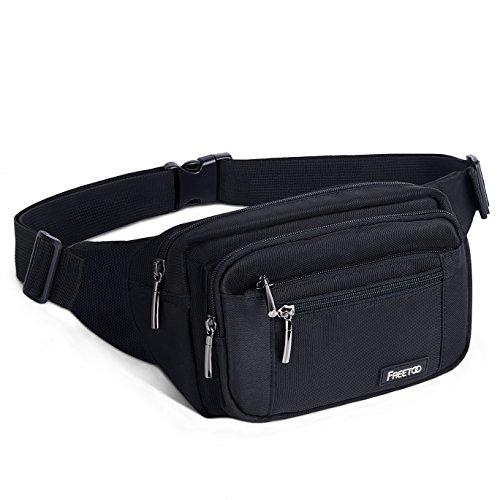 FREETOO Gürteltasche Bauchtasche Multifunktionale Hüfttasche 5 Fächer mit Reißverschluss Geeignet für Reise Wanderung und Alle Outdoor-aktivitäten Schwarz für Damen und Herren