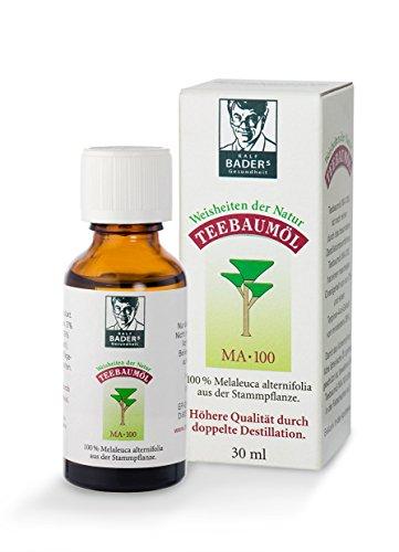 BADERs Teebaumöl MA-100, 30ml. Der Klassiker aus der Apotheke. Doppelt destilliert. 100% reines melaleuca alternifolia aus Australien. Hilfreich zum Beispiel bei unreiner Haut, Pickeln, Akne, Pigmentflecken, Fußpilz, Warzen, Zahnfleischproblemen, Erkältungen. In der Lichtschutz-Faltschachtel. Pharmanummer: 00237972