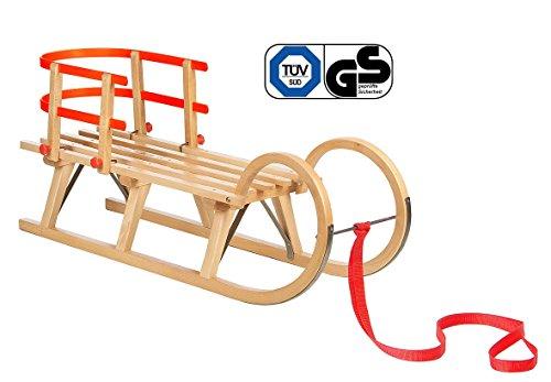 Impag Klassischer Hörner-Schlitten Rodel   100-125 cm lang   stabiles Buchenholz   belastbar bis 110 kg   mit Zuggurt und Sicherheits-Rückenlehne   TÜV geprüft