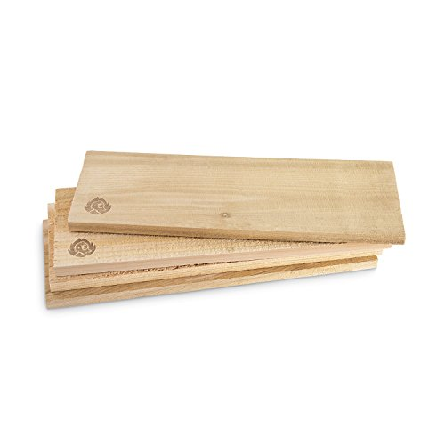 Räucherbretter aus kanadischem Zedernholz, Grillbretter, Grill-Planken, Zedernholzbrett (Set glatte und raue Oberfläche) unbehandelt, Grillzubehör für BBQ, Gratis Rezept (PDF) - 4er Set