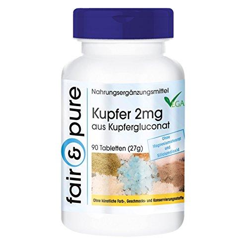 Kupfer 2mg, Kupfergluconat, vegan, ohne Magnesiumstearat, 90 Kupfer-Tabletten, Kupfer Nahrungsergänzung zum Einnehmen