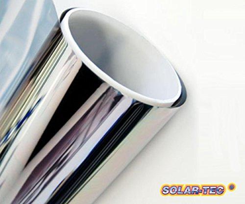 Original SOLAR-TEC Universal Sonnenschutz Spiegelfolie 99% UV-Schutz 78% reduzierte Helligkeit hochglanzverspiegelt kratzfest selbstklebend für Außen- und Innenmontage (300 x 76cm)