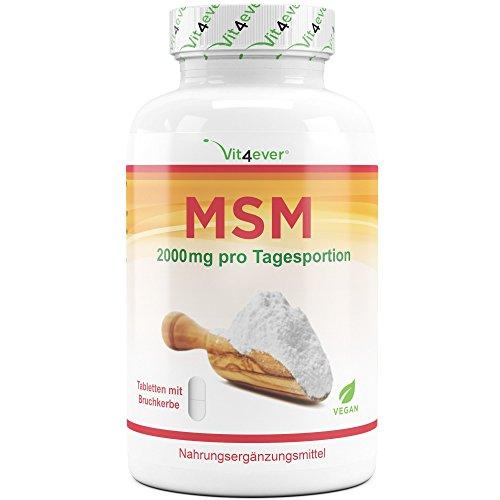 MSM - 400 Tabletten - 2000 mg pro Tagesportion - 99,9% reines organisches Schwefel-Pulver – Laborgeprüft - Methylsulfonylmethan – Hochdosiert – Vegan – Gelenke & Haut