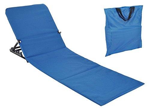 Strandmatte faltbar mit Rückenlehne - blau - Sonnenliege Strand Liege Matte Gartenliege
