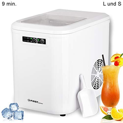 TZS First Austria - Eiswürfelmaschine 12-15kg Eiswürfel pro Tag, leise,schnell Eiswürfelbereiter, Produktionszeit 9-10 Minuten, 2 Eiswürfel-Größen, 2,2L Wassertank, LED Anzeige, Eiswürfel Maker, weiß