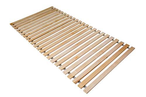 Naturamio Massivholz-Rollrost XXL - 100 x 200cm - Hochwertiger Rolllattenrost aus 23 massiven Leisten aus Hartholz - 250 KG Flächenlast - unbehandelt und FSC Zertifiziert - inkl. Edelstahlschrauben
