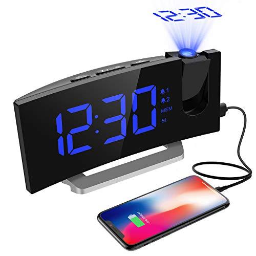 Mpow Projektionswecker, FM Radiowecker mit Projektion, LED Wecker Digital, Reisewecker, Tischuhr, Projektionsuhr, 5'' LED-Anzeige, Dual-Alarm, 6 Helligkeit, 4 Alarmton mit 3 Lautstärke, 9 ' Snooze