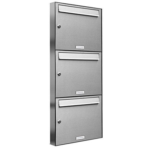3 er Briefkastenanlage Edelstahl, Premium Briefkasten DIN A4, 3 Fach Postkasten modern Aufputz