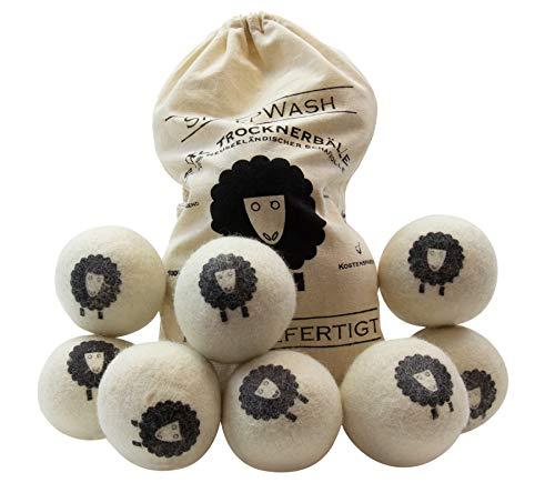 SheepWash 8er XXL Pack Trocknerbälle - Waschbälle als natürlicher Weichspüler aus 100% Neuseeländischer Premium-Schafwolle für den Wäschetrockner
