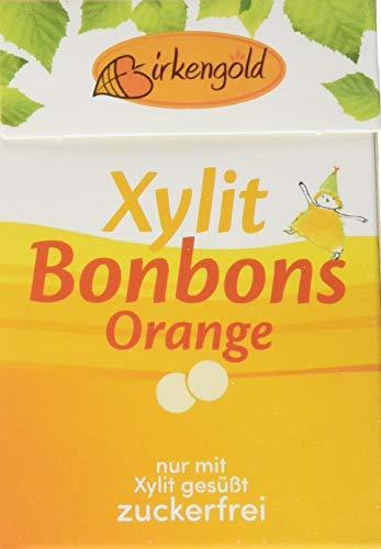 Birkengold Xylit Bonbons Orange zuckerfrei, 12er Pack | zahnpflegend | zuckerfrei | mit 100 % europäischem Xylit | natürliche Zutaten