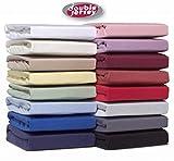Double Jersey - Spannbettlaken 100% Baumwolle Jersey-Stretch bettlaken, Ultra Weich und Bügelfrei mit bis zu 30cm Stehghöhe, 180x200x30 Natur Weiß