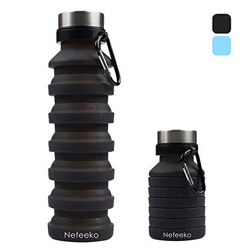 Nefeeko Faltbare Wasserflaschen,550ML Faltbare Trinkflasche Auslaufsicher Sportflasche,BPA Frei Silikon Flasche Wiederverwendbar Trinkflasche für Reise Camping Radfahren Klettern mit Karabinerhaken