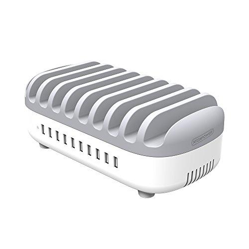 NTONPOWER USB Ladestation für 10 Handy und Tablet 120W Dockingstation für Mehrere Geräte- -Weiß/Grau(MEHRWEG)