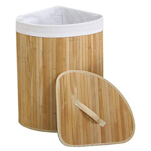 WM Homebase Wäschekorb aus Bambus Faltbar Aufbewahrungsbox Herausnehmbaren Wäschesack mit Deckel für Ecken Naturfarbe 35x35x60CM