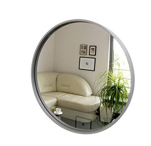 Rund Spiegel, Wandspiegel, 50cm Durchmesser, Holz, Grau