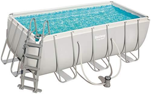 Bestway Power Steel, Frame Pool eckig im praktischen Komplett Set, 412x201x122 cm