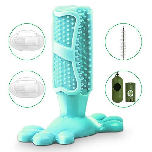 SerDa-Run Hundezahnbürste Hundespielzeug Kauspielzeug Zahnpflege aus Naturkautschuk, Hund Zahnbürsten-Stick für kleine Hunde, mit 2 x Fingerzahnbürste 1 x Reinigungsbürsten 1 Roll Hundekotbeutel