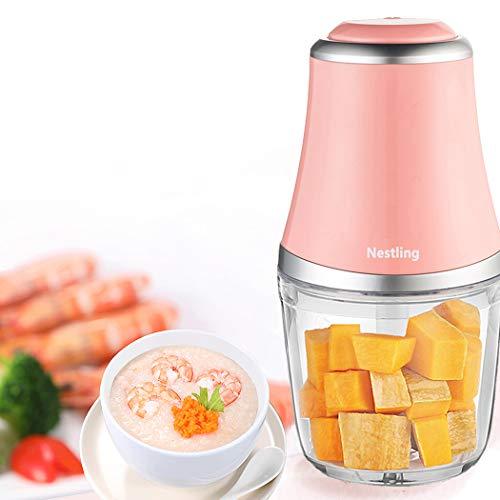 Nestling 280W Elektro Zerkleinerer, Gemüsezerkleinerer, Küchenmaschine mit 3 scharfen Klingen für Fleisch, Obst und Nüsse mit 600 ml (Rosa)