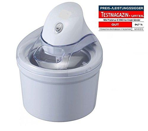 Perfect Mix Eismaschine / Eiscreme Maschine 4in1 ( Speiseeismaschine / Speiseeisbereiter , Sorbet Maschine, Frozen Yoghurt Maschine, Eiswürfelbehälter ), 1,2 L Volumen, Eisherstellung in 15 min., inkl. 3x Speiseeispulver 330g + Rezepte zur Speiseeisherstellung