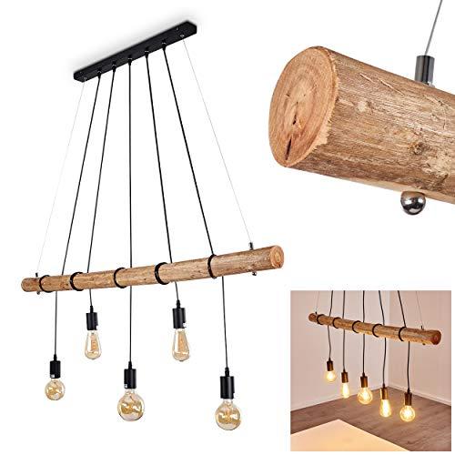 Pendelleuchte Seegaard, Hängelampe aus Metall/Holz in Schwarz/Braun, 5-flammig, 5 x E27 max. 60 Watt, moderne Hängeleuchte geeignet für LED Leuchtmittel