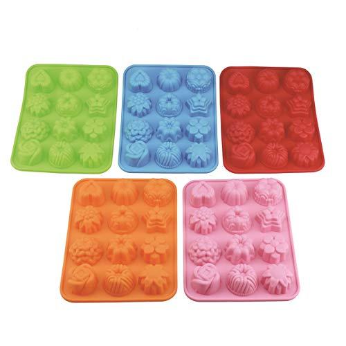 (5Stück) 12Mulden Silikon Blume Seife Form Kuchen Brot Form Schokolade Jelly Candy Backform–5Farben (Pink, Blau, Orange, Grün, Rot)