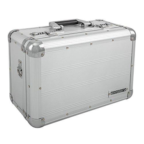 anndora Fotokoffer silber Kamerakoffer Alukoffer + Gurt - Aluminium 12 Liter