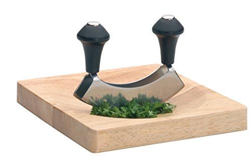 Kitchen Craft Edelstahl-Wiegemesser mit zwei Klingen, in Geschenkverpackung