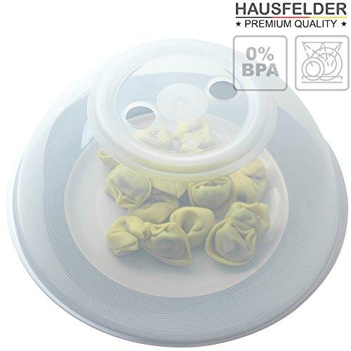 Mikrowellenhaube XL-Abdeckung von Hausfelder | Spülmaschinengeeignet und BPA-frei | ideal als hohe Mikrowellen Abdeckhaube, Spritzschutz Deckel, Teller Haube für die Mikrowelle