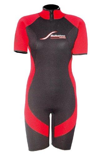 ScubaTec 4mm Damen Shorty, schwarz-rot, 42 (XL)