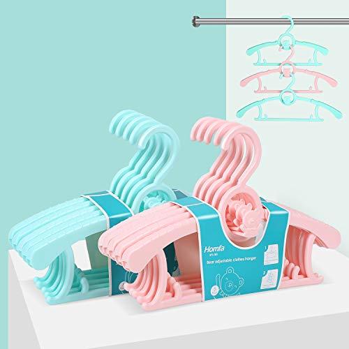 HOMFA mitwachsende Kinderkleiderbügel platzsparend mit stapelbaren Bärchen-Haken rutschfeste Kleiderbügel für Babys und Kleinkinder 10er Set