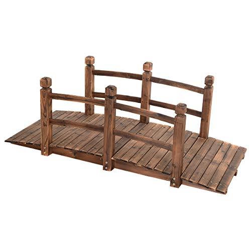 GOPLUS Holzbrücke aus Tannenholz, Gartenbrücke bis 100 kg, Teichbrücke Braun, Zierbrücke mit Geländer, 150x67x55cm