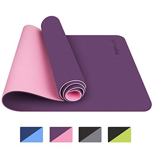 TOPLUS Gymnastikmatte, Yogamatte Yogamatte Gepolstert & Rutschfest für Fitness Pilates & Gymnastik mit Tragegurt - Maße 183cm Länge 61cm Breite - Lila & Pink