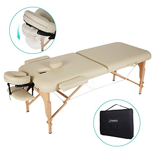Naipo Massageliege Klappbar mit 2 Zonen tragbaren höhenverstellbaren Holzfüßen Einfache Installation Ergonomische Kopfstütze mit Tragetasche aus hochwertiger deutscher Buche Beine