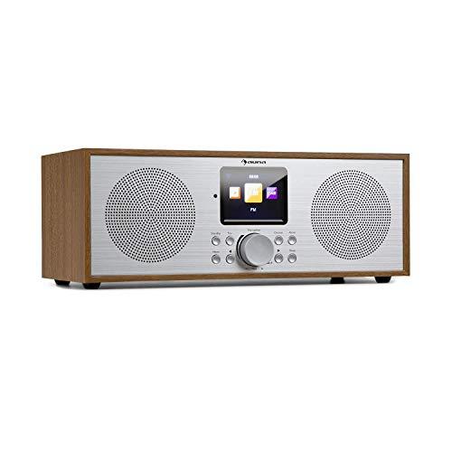 auna Silver Star Stereo Internet DAB+ / UKW Radio • Internet-Radio mit WLAN • Küchenradio • Bluetooth • 2 x 8 Watt RMS • USB • App-Steuerung • AUX • Weckfunktion • inkl. Fernbedienung • Eiche