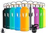 Super Sparrow Trinkflasche Edelstahl Wasserflasche - 750ml - Isolier Flasche mit Perfekte Thermosflasche für Das Laufen, Fitness, Yoga, Im Freien und Camping | Frei von BPA (Mango)