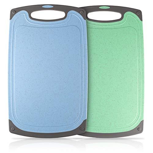 Heatigo Schneidebrett, 2-teiliges Kunststoff-Schneidebrett Antibakteriell Spülmaschinenfestes Plastik Schneidebrett