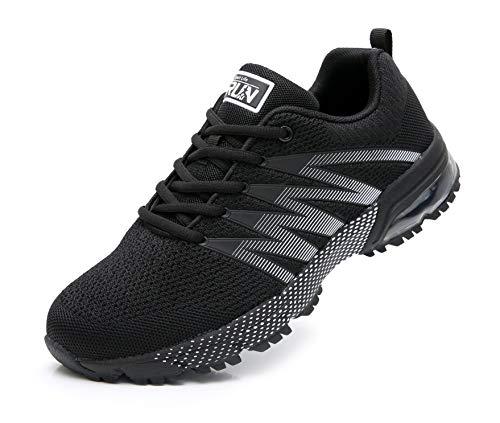 Azooken Herren Damen Sportschuhe Laufschuhe Turnschuhe Sneakers Leichte Fitness Mesh Air Sneaker Straßenlaufschuhe Outdoor(8995 Black41)