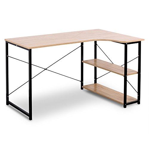 WOLTU TSB06hei Schreibtisch Computertisch Büromöbel PC Tisch Bürotisch Arbeitstisch aus Holz und Stahl, mit Ablage, ca. 120x74x71,5 cm