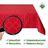 Valia Home Tischdecke Tischtuch Tafeldecke abwaschbar wasserdicht schmutzabweisend Lotuseffekt pflegeleicht Teflon behandelt eckig 140 x 200 cm rot