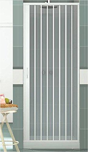 Duschkabine mit einer Tür Öffnung Vorderseite. Hergestellt In PVC ungiftig selbstverlöschend Reduzierbare durch den Schnitt der Schiene. Farbe weiß.