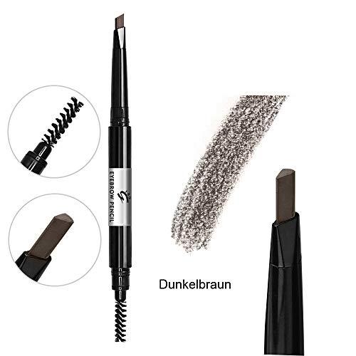 Dunkelbraun Augenbrauenstift mit Pinsel, wasserfeste einziehbare Augenbrauenstiftfarbe für Frauenmädchen (Dunkelbraun #6)